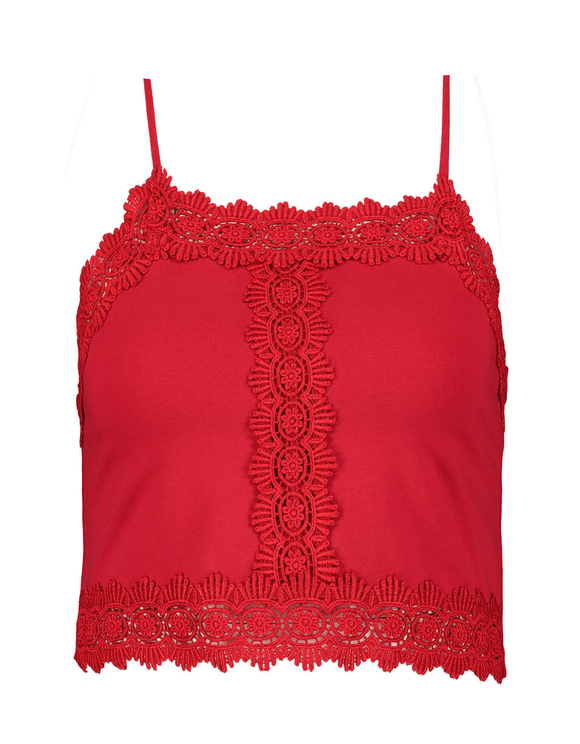 Red Crop Top with Lace