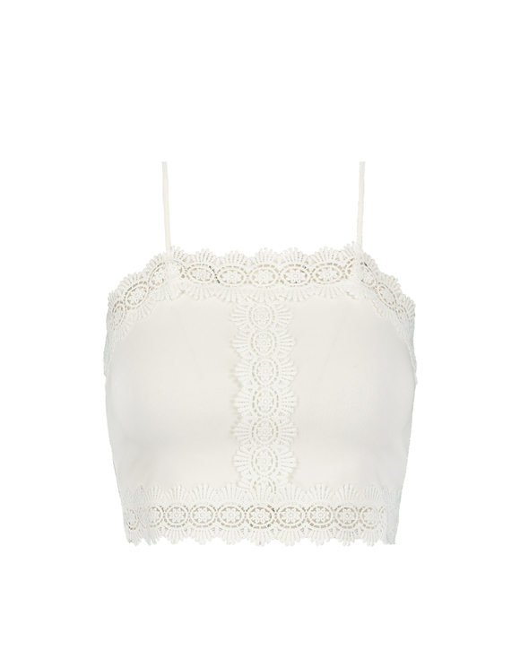 White Crop Top with Lace