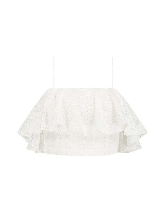 White Ruffle Crop Top