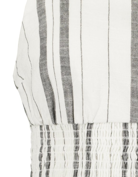 White Striped Smock Top
