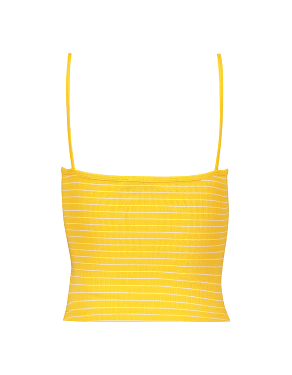 Yellow Striped Ribbed Crop Top