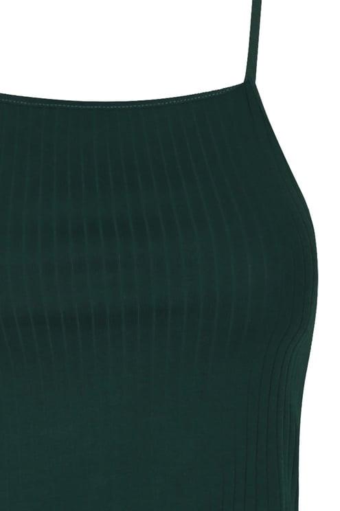 Green Ribbed Tank Top