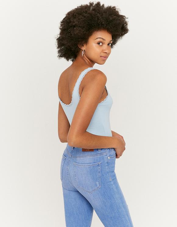 Blue Lace Trim Top