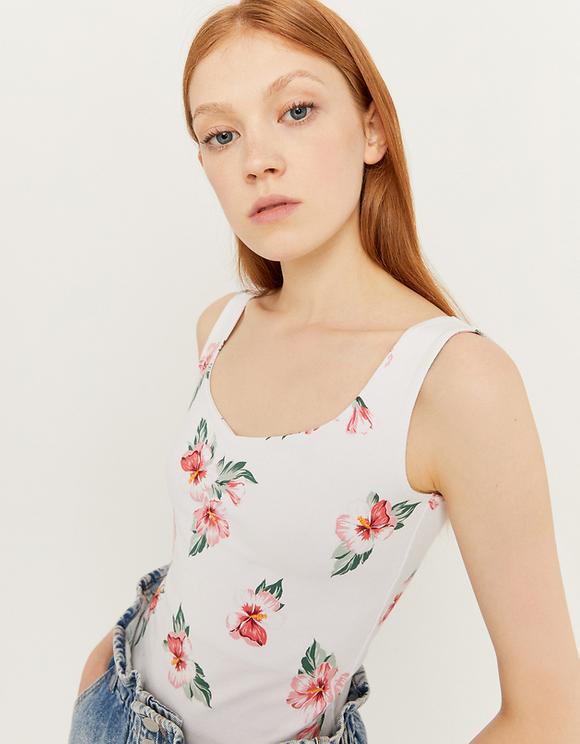 White Floral Print Tank Top