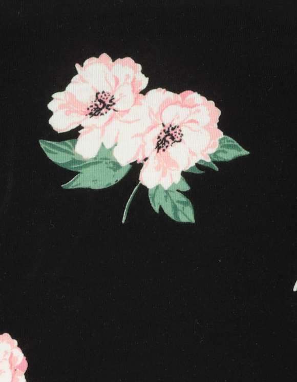 Czarny top w kwiaty