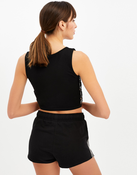 Black Crop Top with Side Cut Out