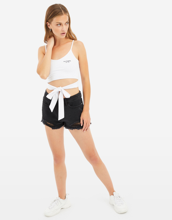 Slogan Cropped Top with Tie
