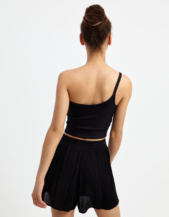 Black One Shoulder Top