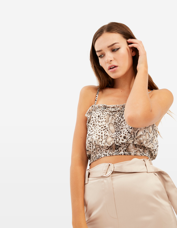 Crop Top Imprimé Animalier