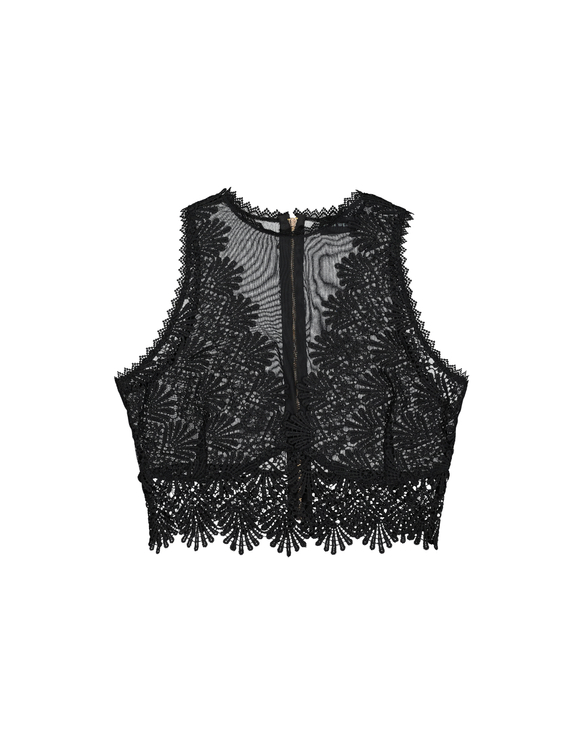 Black Crochet & Mesh Top