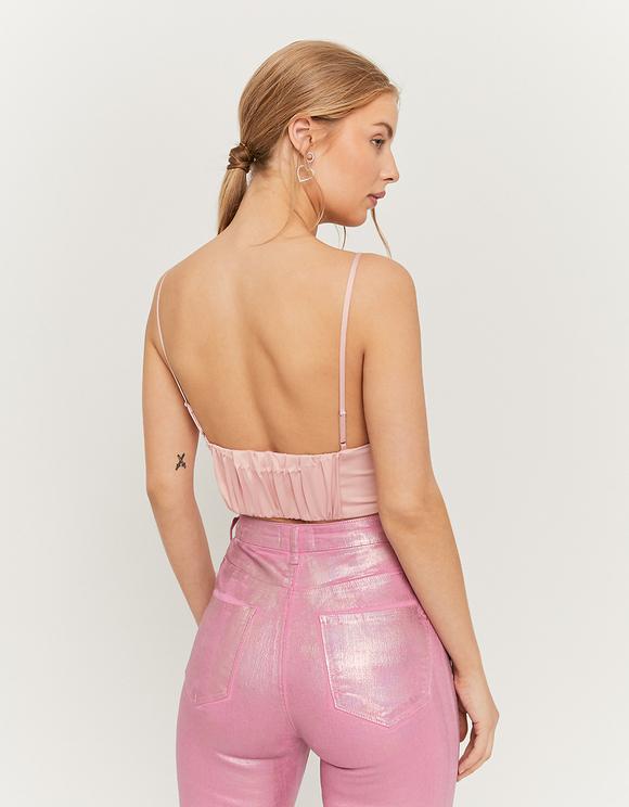 Pink Satin Crop Top