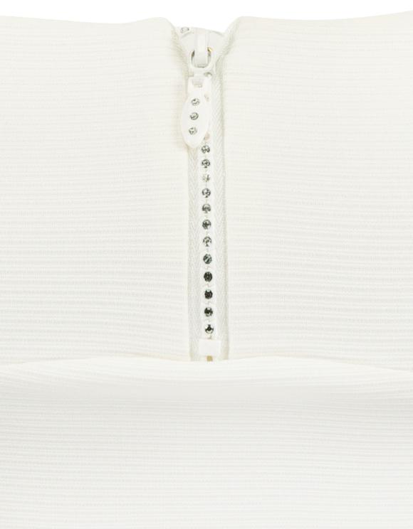 White Crop Top with Rhinestones