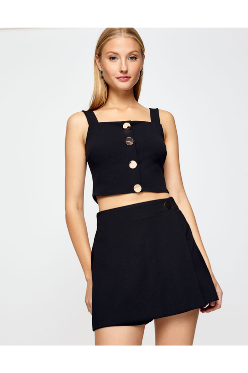 Black Buttoned Crop Top