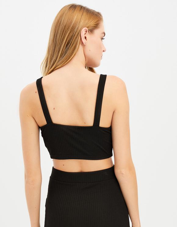 Black Buttoned Crop Top