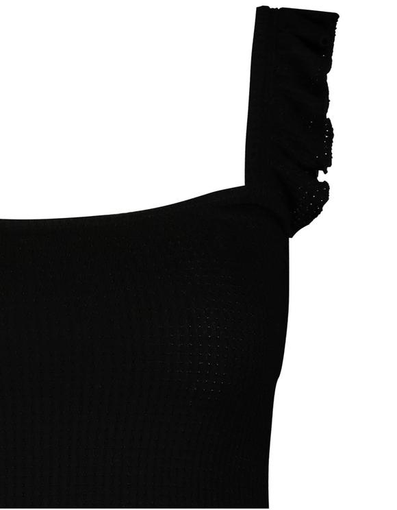 Top Noir à Broderie Anglaise