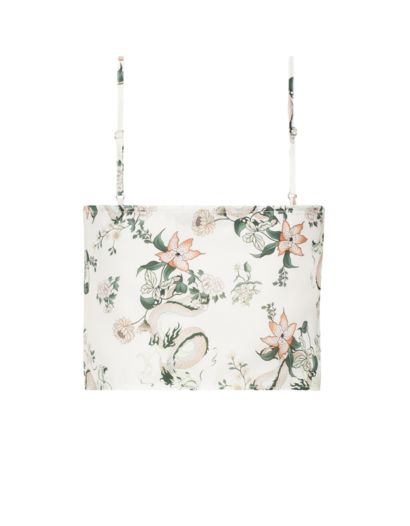 White Oriental Print Top