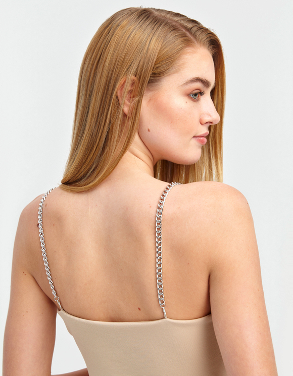 Beige Chain Strap Top