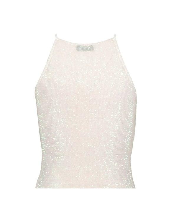Top Blanc en Sequins & Paillettes