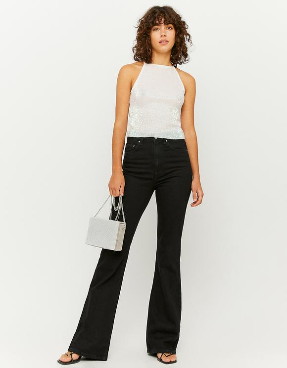 White Glitter & Sequins Top