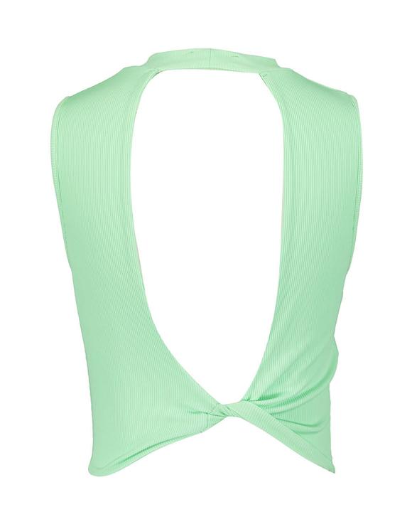 Grünes Top mit offenem Rücken