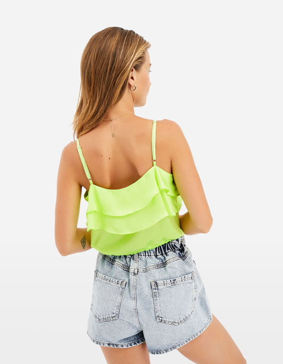 Neon Green Ruffle Blouse