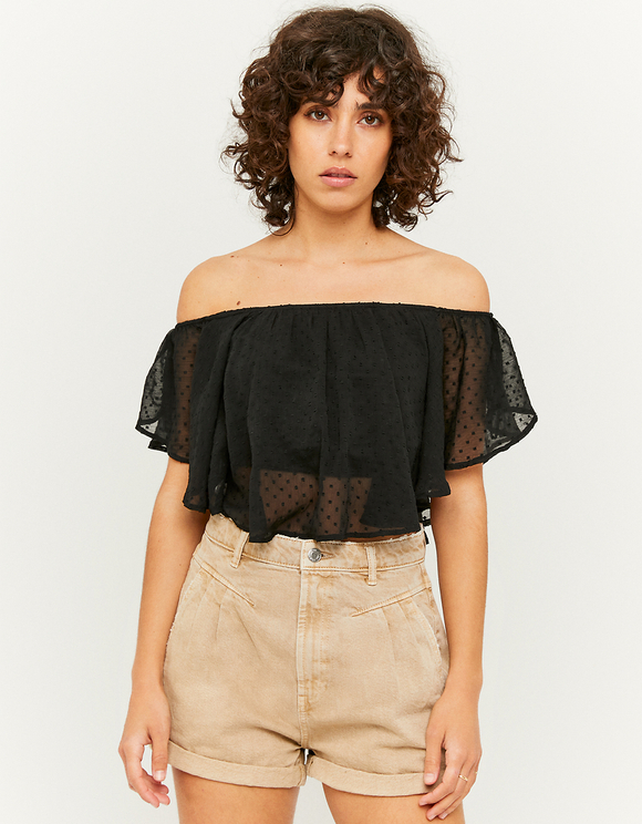 Crop Top en Mesh à Pois