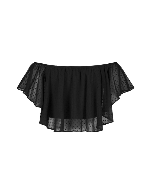 Gepunktetes Mesh-Crop-Top