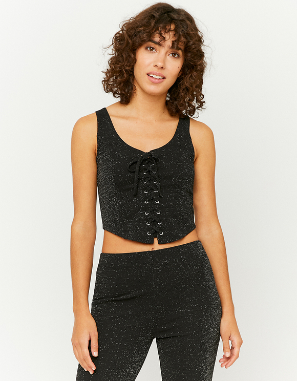 Black Lurex Laced Up Top