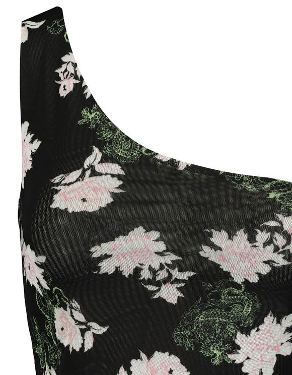Black Asymmetric Printed Crop Top