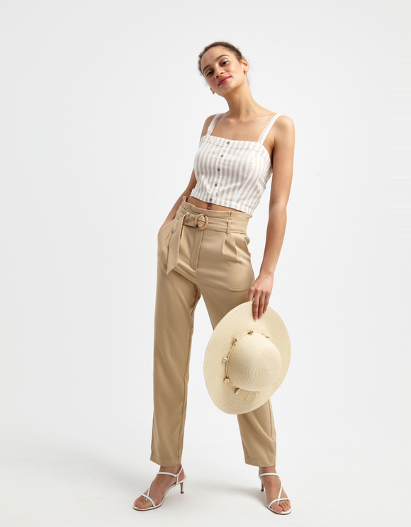 Crop Top Blanc Rayé