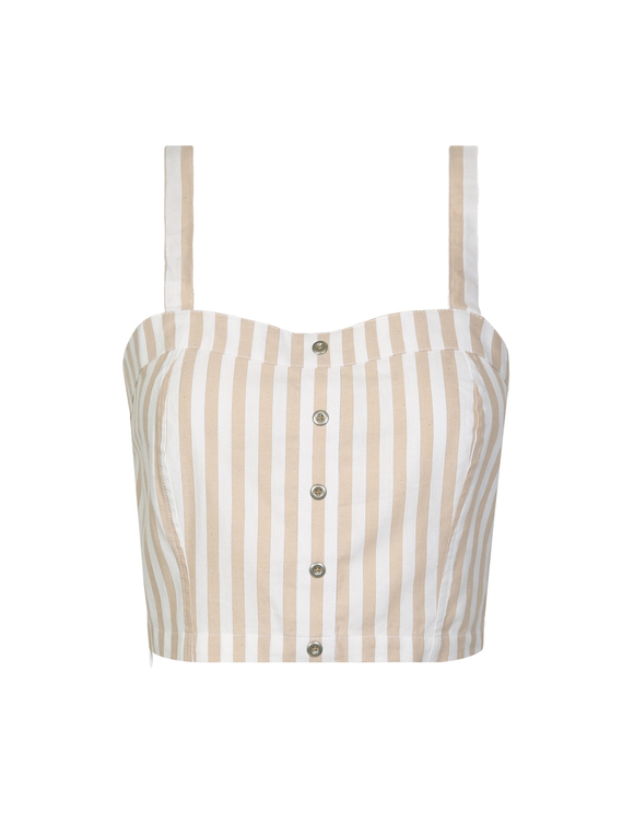 Beige Striped Crop Top
