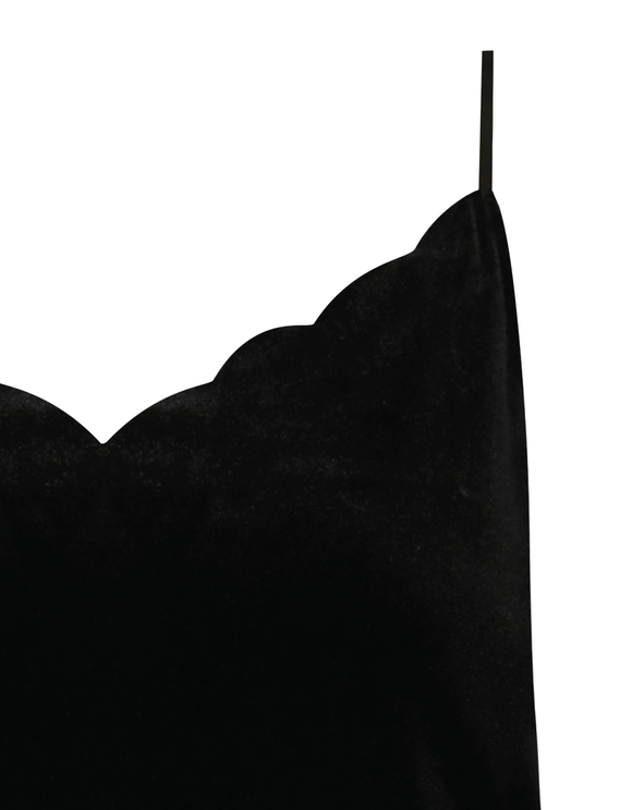 Black Scallop Velvet Tank Top