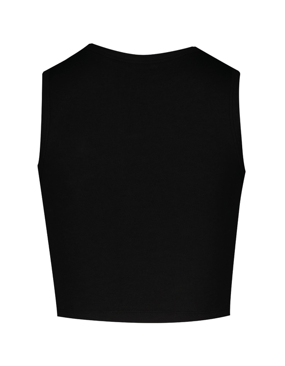 Black Crop Top with Rhinestones