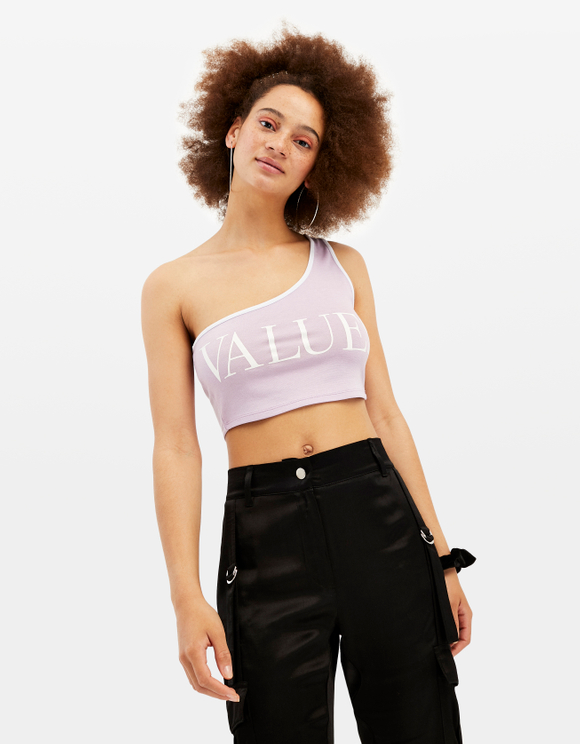 Crop Top Rose Asymétrique