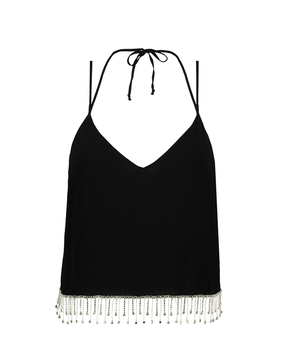 Black Sleeveless Top with Rhinestones Trims