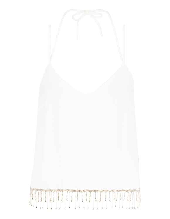 White Tank Top with Rhinestones