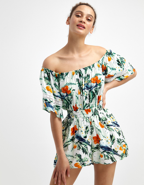 Florales Bardot-Top mit Spitze