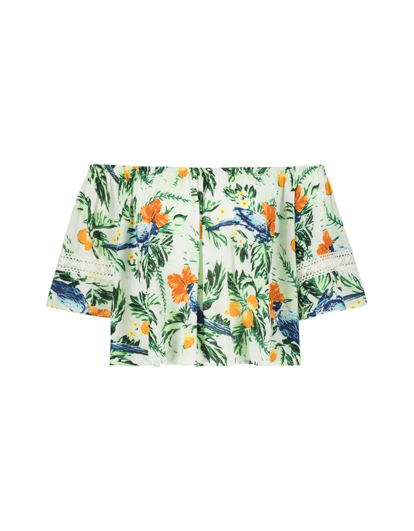 Tropical Print Ruffled Top
