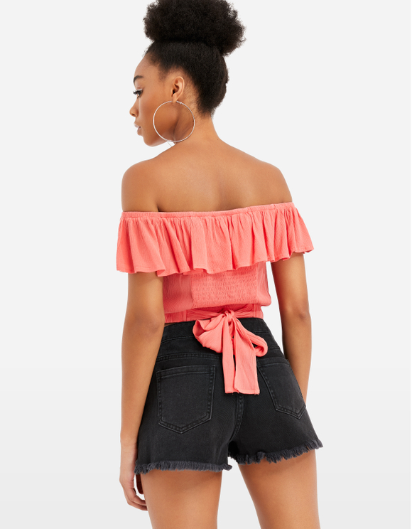 Bardot Ruffle Crop Top