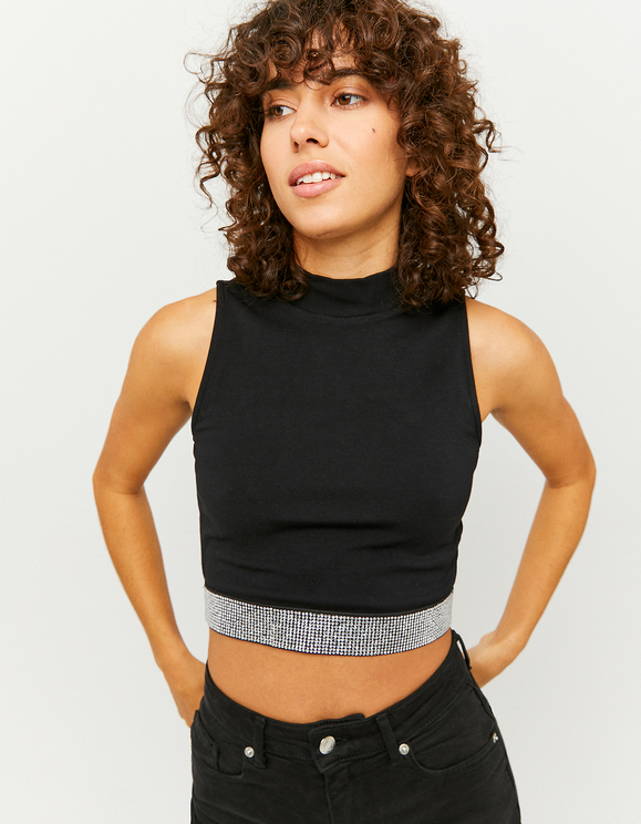 Black Rhinestones Band Top