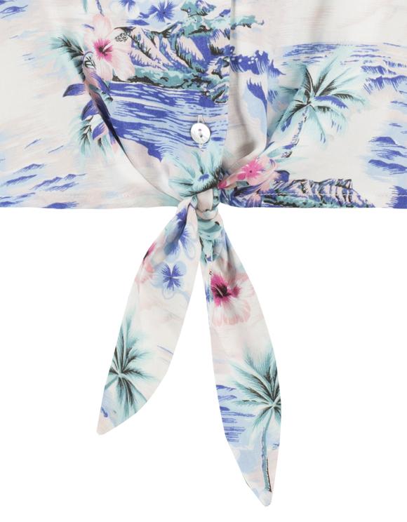 Blouse Bleue Imprimé Tropical