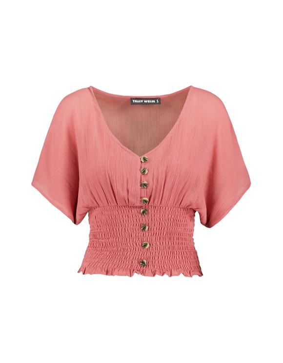 Pinke Bluse mit geraffter Taille
