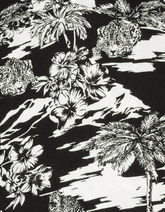 Czarny top w tropikalny wzór