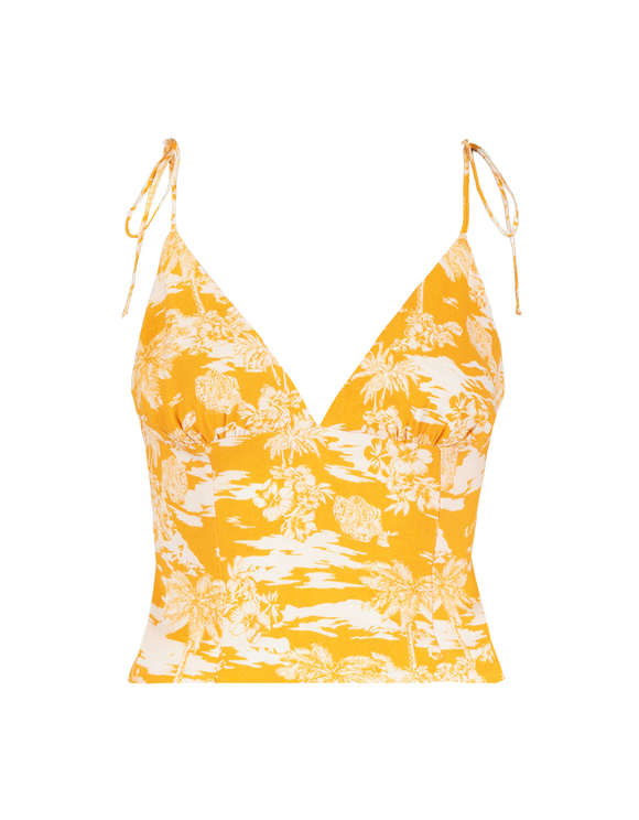 Yellow Tropical Crop Top