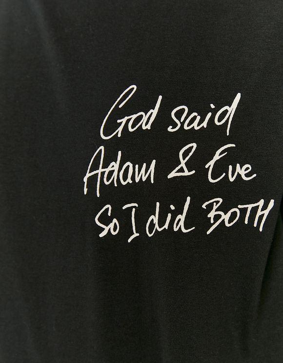 T-Shirt Noir Imprimé Adam & Eve