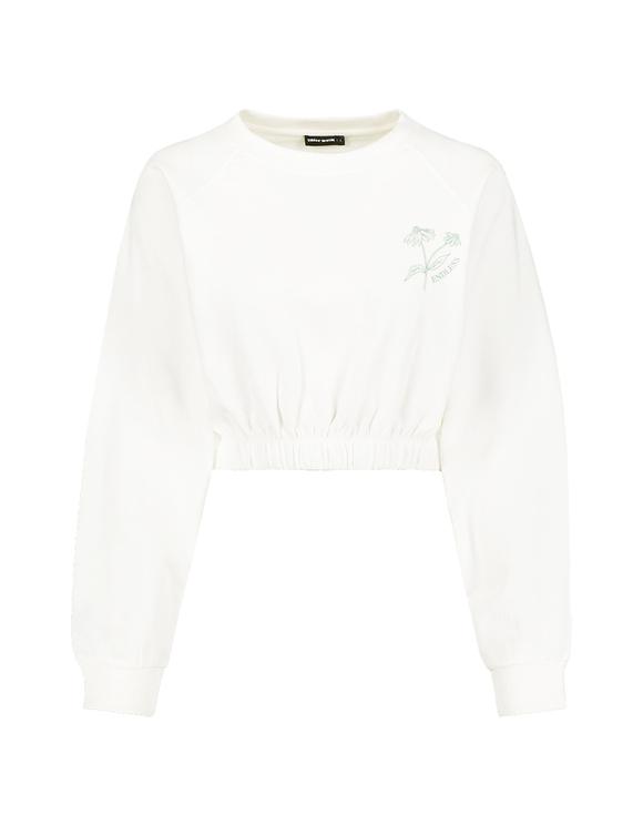 Weißes kurzes Sweatshirt