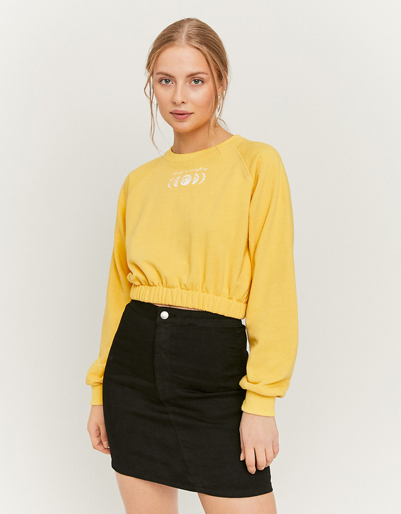 Senffarbenes kurzes Sweatshirt