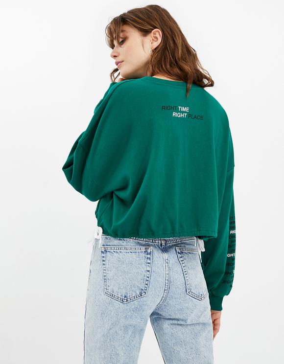 Green Drawstring Sweatshirt