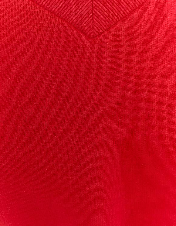 Red V Neck Sweatshirt