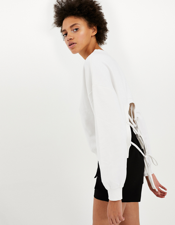 White Open Back Sweatshirt